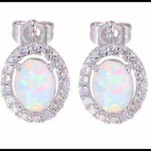 .925 Sterling Silver 2 Carat Fire Opal Earrings
